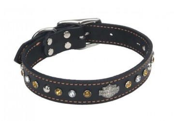 Harley-Davidson® Jeweled Leather Collar 22""