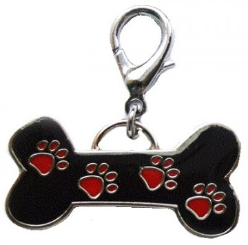 Black Bone / Red Paws Charm